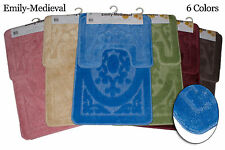 2 pc Bath Mat Set Bathroom Rug & Contour Mat - Emily Medieval with Latex Backing