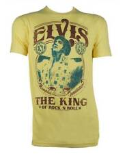 Elvis Presley Men's The King Of Rock N Roll Short Sleeve T-Shirt Yellow EP1035