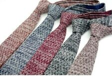 Men Wool Blend Knit Knitted Flat Slim Narrow Rare Mixed Solid Tie Necktie