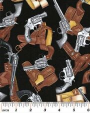 Pistols Guns Fabric Western Wild West Saloon Derringer Revolver Six Shooter