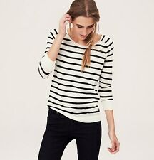 NWT ANN TAYLOR LOFT Ivory Blue Alluring Scoopneck Striped Roll Neck Sweater $49