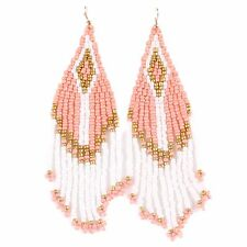 new women fashion long bead tassel dangle multicolor gold plated hook earring
