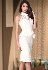 2014 New Design Women Peplum and High Neck Pencil Midi Dress for evening LC6168
