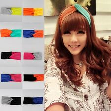 Candy color Women Turban Twist Headband Head Wrap Twisted Knotted Soft Hair Band