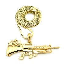 "NEW MGK'S MACHINE GUN LACE UP PENDANT 2mm/30"" BOX CHAIN NECKLACE XZP11BX"