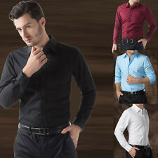New Fashion Korean Men's Formal Slim Fit Long Sleeve Work Dress Casual Shirts