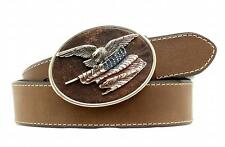 Nocona Western Mens Belt Leather Eagle Flag Buckle Brown N2411344