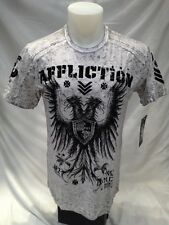 Mens AFFLICTION Shirt Crew Neck White Eagle Shield Black Medium XL 2XL A9130 NWT