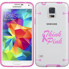 For Samsung Galaxy S3 S4 S5 Clear Hard TPU Case Cover Think Pink Breast Cancer