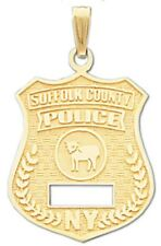 10k or 14k Yellow Gold Suffolk County Police Officer Pendant Charm