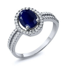 2.55 Ct Oval Blue Sapphire Gemstone 925 Sterling Silver Women's Engagement Ring
