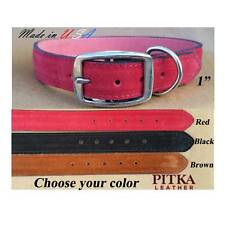 Leather Suede Collars for Large Dogs - Plain or Studded Leather Collar USA made
