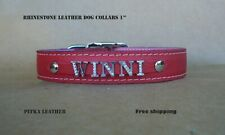 Rhinestone - Chrome Personalized Leather Dog Collars - Large Custom Dog Collars