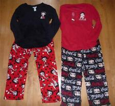 NWT Womens BETTY BOOP Coca Cola Fleece Pajamas Top Lounge Pants Size S XL winter