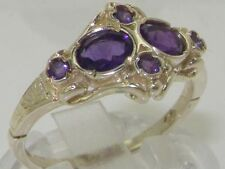 Rare Unusual Solid 925 Sterling Silver Natural Amethyst Victorian Style Ring