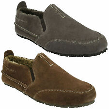 KITE LASER MENS CLARKS SUEDE WARM FUR LINING SLIP ON COSY WINTER INDOOR SLIPPERS