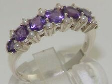 Luxurious Solid 925 Sterling Silver Natural Amethyst & Pearl Eternity Ring
