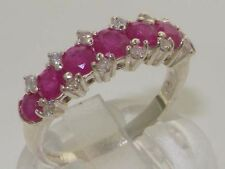 Luxurious English Solid 925 Sterling Silver Natural Ruby & Diamond Eternity Ring