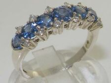 Luxurious Solid 925 Sterling Silver Natural Sapphire & Diamond Eternity Ring