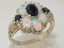 Solid 925 Sterling Silver Natural Sapphire & Fiery Opal Art Nouveau Style Ring