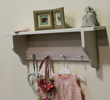 Nursery children bedroom shelf with Shakers pegs solid wood shabby chic finish