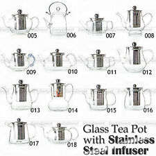 Kinds of Handmade Heat-Resisting Clear Glass Teapot w/ Stainless steel Infuser
