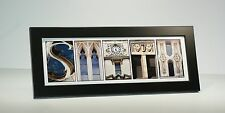 Framed Name Sign w/ Architectural Letter Photographs - Personalized Wedding Gift