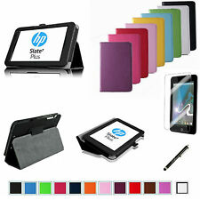 "For 7"" HP Slate 7 Plus S7-4200US Tablet PC 2-Folding Folio Leather Case/Film/Pen"
