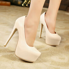 Lady Model Classics Matte Shoes 15cm High Heels Pumps with 5cm Platform US4-11