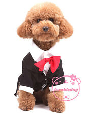 Red Bowtie Black Tuxedo Suit Dog Halloween Costume Clothes Appalrel 5 size