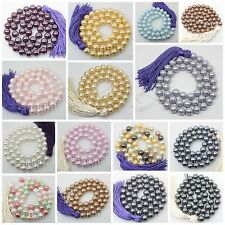 """8mm shell mother of pearl MOP round beads loose gem stone 16"""" long strand"""