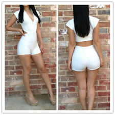 New Sexy Women's Bodysuit Clubwear Bodywear Short Pants Jumpsuits Rompers White