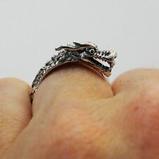 Dragon Ring - 925 Sterling Silver - Detailed Dragon Ring Chinese Year Mother NEW