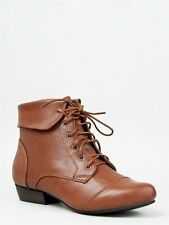NEW Women Casual Distress Oxford Style Lace Up Ankle Boot Booty brown Tan indy11
