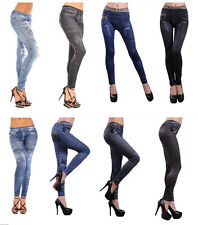 New Womens Leggings/Jeggings Womens Fashion Denim Look Fit Size 8-18