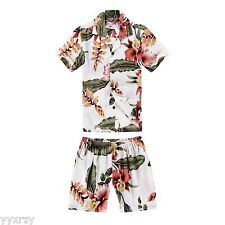 Boy Toddler Aloha Shirt Set Shorts Beach Hawaiian Cruise Luau Cream Rafelsia