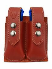 NEW Barsony Burgundy Leather Double Magazine Pouch for Taurus Compact 9mm 40 45