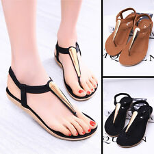 Fashion Summer Women Lady Metal Shoes Sandals Female Flat Heels T-Strap Sandels