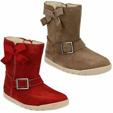 CRAZY FUN INFANT GIRLS CLARKS WALNUT SUEDE WINTER BOOTS SHOES ZIP UP MID CALF