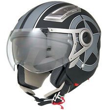 Flat/Matte Black Star 3/4 Open Face Dual Visor DOT Motorcycle Helmet - S/M/L/XL