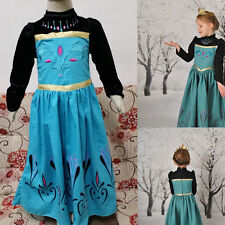 Kids Cosplay Costume Frozen Anna Coronation Robes Dress Party Gown Formal Dress