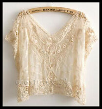 FREE GIFT + Crochet Lace Zara Vtg Style Boho People Floral Dress Tunic TOP