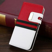 HOT NEW Fashion Luxury PU Leather Magnetic Flip Wallet Case for iPhone 4 4S 5 5S