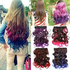 Rainbow Color Cosplay Long Curly Straight Synthetic Hair Extensions Clip In On