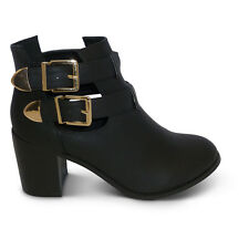 Women New Gold Buckle Cut Out Chelsea Block Heel Ankle Boots Shoes Size
