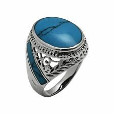 925 Sterling Silver 20mm Oval Blue Turquoise Stone Men's Ring size 9 10 11 12 13
