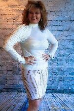 NEW NWT White MESH Authentic Gracia Mermaid Pleather Scales Top S M L SHEER