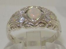 Solid English 925 Sterling Silver Fiery Opal & Diamond Vintage Wedding Band Ring