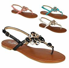 NEW Women's Colored Marble Jewel Gem Rhinestone Thong Flat Heel T-Strap Sandals