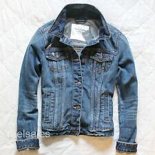 Abercrombie & Fitch Women Jean Denim Jacket Light Outerwear Blazer Top Hollister